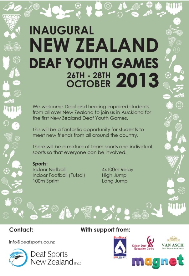 NZ Deaf Youth Games Flier
