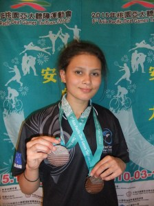 Santana Chapman with her two Bronze Medals